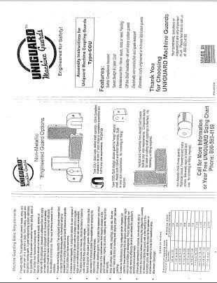 Uniguard Machine Guards CGU Installation Brochure