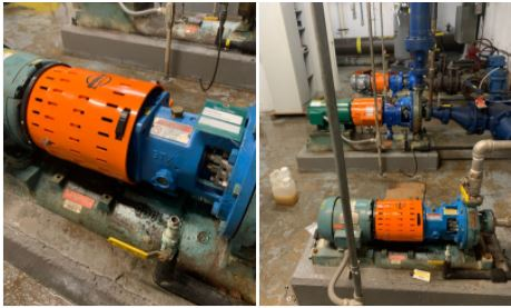 Uniguard Barrel guards installed on Summit Pumps in a Western MA industrial water treatment facility.